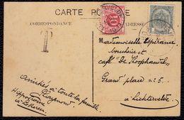 """1911 TAMPON LICHTERVELDE OP TX 13 - VAN VEURNE NAAR """" Cafe De Koophandel """" IN LICHTERVELDE - Kaart Veurne - Covers"""