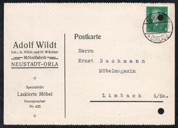 A6226 - Alte Postkarte - Bedarfspost - Neustadt Orla - Adolf Wildt Möbelfrabrik - Nach Limbach 1931 - Neustadt / Orla