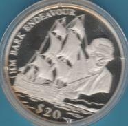 """LIBERIA 20 DOLLARS 2000 """"HM Bark Endeavour"""" COOK Bateau  Proof Silver - Liberia"""