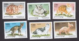 Cambodia, Scott #1707-1712, Mint Hinged, Cats, Issued 1998 - Cambodia