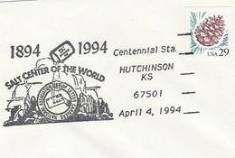 1994 COVER EVENT Pmk SALT, SALT CENTER OF THE WORLD CENTENNIAL  Hutchinson Ks  Usa Stamps Minerals - Minerali