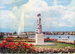 UNITED NATION, GENEVA - COLOUR PICTURE POST CARD - POSTED FOR INDIA, 1965 - LA STATUE DE LA BRISE AU QUAI GUSTAVE ADOR - Postcards