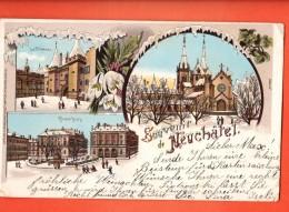 NE-07 Souvenir De Neuchâtel Litho, En Hiver. Angles Fatigués. Cachet 1899 Précurseur - NE Neuchâtel