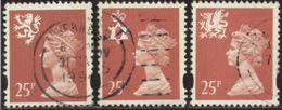 GB 1993 Yv. N°1721 à 1723 - 25p Rose Carminé Emissions Régionales - Oblitéré - Machins