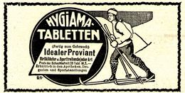 Original-Werbung/ Anzeige 1911 - HYGIAMA TABLETTEN / MOTIV SKI-LANGLAUF - Ca. 90 X 50 Mm - Werbung