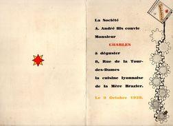 MENU SOCIETE A.ANDRE FILS La Cuisine  Lyonnaise De La Mère Brazier SPIDOLEINE Octobre 1928 - Menus