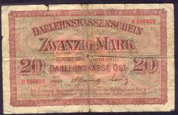 Germany 20 Mark  Kowno (Lithuania) 1918 04 04 VF   # P- R131 - [ 9] Territoires Allemands Occupés