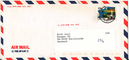 Taiwan Air Mail Cover Sent To Denmark 26-4-1999  Single Franked - 1945-... Republic Of China