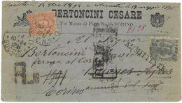 """RACCOMANDATA DA TORINO A BUENOS AIRES RITORNATA A TORINO CON ANNULLI """"RETOUR"""", """"AL MITTENTE"""" + AL RETRO """"NON RECLAME"""" - 1900-44 Victor Emmanuel III"""