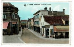 Diegem, Kerkstraat - Rue De L'Eglise, Uitg. J. Delcon-Peeters, Diegem, Café 'In St Cornelius' - 2 Scans - Diegem