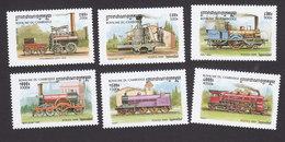 Cambodia, Scott #1797-1802, Mint Hinged, Trains, Issued 1999 - Cambodge