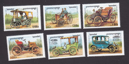 Cambodia, Scott #1811-1816, Mint Hinged, Antique Cars, Issued 1999 - Cambodia
