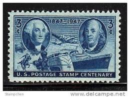 1947 USA 100th Anniv Postage Stamp Sc#947 Plane Ship Horse Train Famous - United States