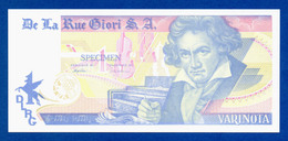 De La Rue Giori S.A. Varinota Beethoven Color Trial #08 - Specimen Test Note Unc - Specimen