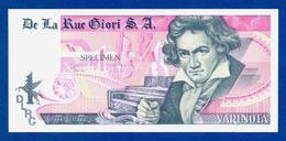 De La Rue Giori S.A. Varinota Beethoven Color Trial #09 - Specimen Test Note Unc - Specimen