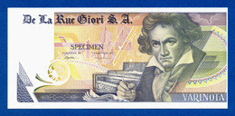 De La Rue Giori S.A. Varinota Beethoven Color Trial #10 - Specimen Test Note Unc - Specimen