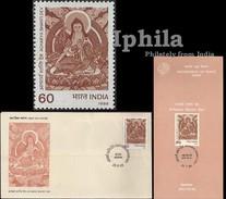 Acharya Shanti Dev Famous Buddhist Monk Tibet Ind FDC Fldr  Shakyamuni Gautam Buddha Nirvana Buddhism Bouddha Buddhismus - Bouddhisme