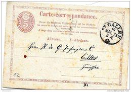32-5 - Entier Postal Envoyé De St Gallen 1873 - Ganzsachen
