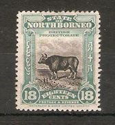 NORTH BORNEO 1909 18c BANTENG SG 175 MOUNTED MINT - KEY VALUE OF THE SET - Cat £160 - Bornéo Du Nord (...-1963)