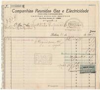 Invoice * Portugal * Lisboa * 1917 * Companhias Reunidas Gaz E Electricidade - Portugal