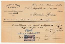 Invoice * Portugal * Lisboa * 1910 * Frederico Homem - Portugal