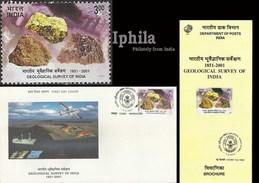 Geological Survey Indian FDC Folder Indien Inde Minerals Miners Mines Geology Gems Geologie La Mine Mineralien Minéraux - Geology