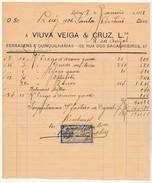 Invoice * Portugal * Lisboa * 1908 * Viuva Veiga & Cruz, Lda * Ferragens E Quinquilharias - Portugal