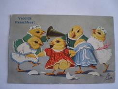 Pasen - Easter - Ostern // Vroolijk Paaschfeest - Dancing Chicks // Used NL 1921 Tuck's -Oilette - Pasen
