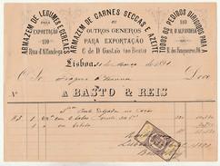 Invoice * Portugal * Lisboa * 1891 * Armazem De Legumes, Cereais, Carnes Secas, Azeite * A Basto & Reis - Portugal