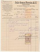Invoice * Portugal * Lisboa * 1894 * Julio Gomes Ferreira & Cª * Empreiteiros - Portugal
