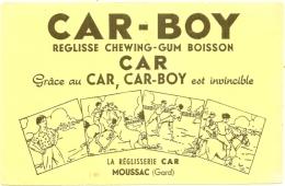 ---- BUVARD ---- - CAR-BOY - Réglisse Chewing-gum Boisson - MOUSSAC (Gard) TB Pli  -jaune Pluspale Que Scan - Cake & Candy