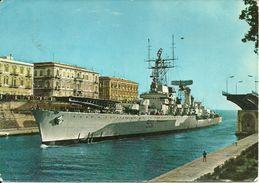 """Incrociatore """"551 Giuseppe Garibaldi"""" A Taranto Con Ponte Girevole Aperto Per Il Passaggio,  Marina Militare Italiana - Guerra"""