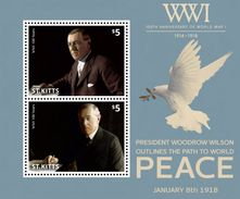 St KITTS 2014 - Cent 1ère Guerre Mondiale, Président Woodrow Wilson - BF 2 Val Neufs // Mnh - Guerre Mondiale (Première)