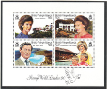 British Virgin Islands - London 1990 - XX - Michel Bl 59 - Cote 14.00 - Familles Royales