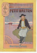 Chromo Publicitaire(17x12cm)-Petit Breton-Biscuiterie Nantaise. - Confiserie & Biscuits
