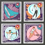FRENCH POLYNESIA 1971 SPORT GOLF TENNIS ARCHERY SAILING PACIFIC GAMES SET MNH - Unused Stamps