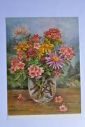 VIRGINIE WALTENBERGER. ALPENBLUMEN IM WASSERGLAS. BOUQUET OF FLOWERS IN VASE.  1078a - Flowers, Plants & Trees