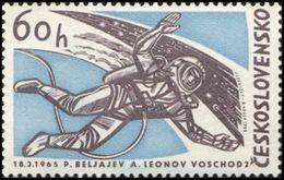 Czechoslovakia / Stamps (1965) 1435: Space Research - Voskhod 2 (Alexey Leonov, Pavel Belyayev); Painter: J. Lukavsky - Space