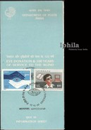 Scarce Stamped Folder Service Of Blind 1987 Eye Donation Indian Blindness Blindheit Cécité Handicapé Ophtalmologie - Handicaps