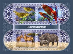 Togo 2017, Animals, Birds, Parrots, Rhino, Gazelle, 4val In BF - Rhinozerosse