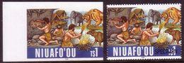 Tonga Niuafoou1996 Imperf Plate Proof + Specimen - Caveman - Prehistoric Animals - Prehistorics