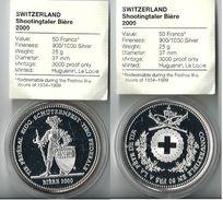 SVIZZERA 2000 - Bière - TIRI FEDERALI - 50 Fr. - FDC Proof - Argento / Argent / Silver  900 / 000 In Capsula - Svizzera
