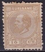 SURINAME 1873 Koning Willem III 10 Cent Geelbruin Tanding 12½ X 12  NVPH 6 C (*) - Suriname ... - 1975
