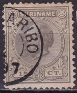 SURINAME 1873 Koning Willem III 15 Cent Grijs Tanding 12½ X 12  NVPH 8 C - Suriname ... - 1975