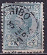 SURINAME 1873 Koning Willem III 25 Cent Groenblauw Tanding 12½ X 12  NVPH 10 C - Suriname ... - 1975