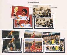 Soccer Football Antigua Barbuda #2589/94 + Bl 376 Barbuda Mail #2055/60 + Bl 296 1998 World Cup France MNH ** 2 Scans - World Cup