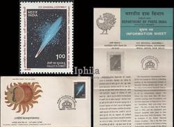 Halleys Comet FDC & Folder IAU Astronomical Union 1985 Astronomy Astronomie Der Weltraum Sonne Soleil Halley's Space - Astronomy