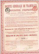 Obligation Ancienne - Sté Générale DeTramways Et Applications D' Electricité  - Titre De 1913 - Chemin De Fer & Tramway
