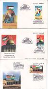 Official Illustrated FDC Solidarity With The Palestinian People Palestine 2000,set Of 3 FDC Egypt - Egypt
