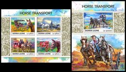 SIERRA LEONE 2017 - Horse Transport. M/S + S/S Official Issue. - Sierra Leone (1961-...)